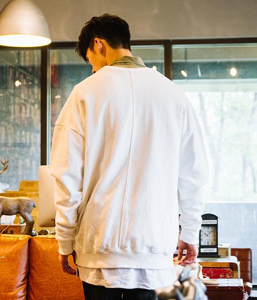 韓國百搭好感色系落肩剪裁水洗大學TEE