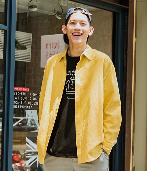 型男質感風格棉麻素面襯衫