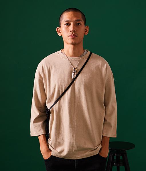 韓國厚棉修身剪裁風格七分袖上衣