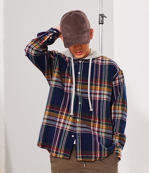 韓國冬季落肩百搭好感法藍絨連帽襯衫