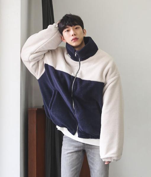 韓國冬日復古配色刷毛運動外套