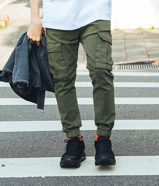 街頭必備錐形剪裁口袋縮口褲