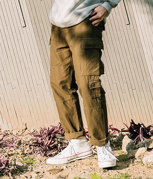 韓國冬季百搭口袋風格軍褲
