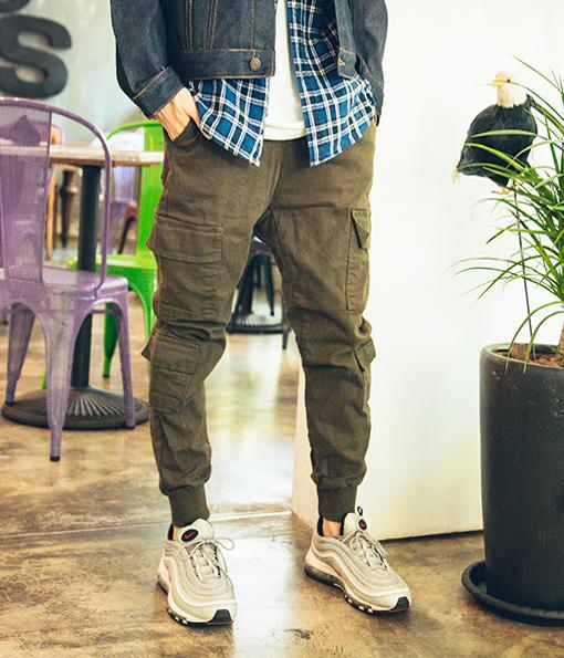 韓國秋季街頭俐落剪裁風格工作褲