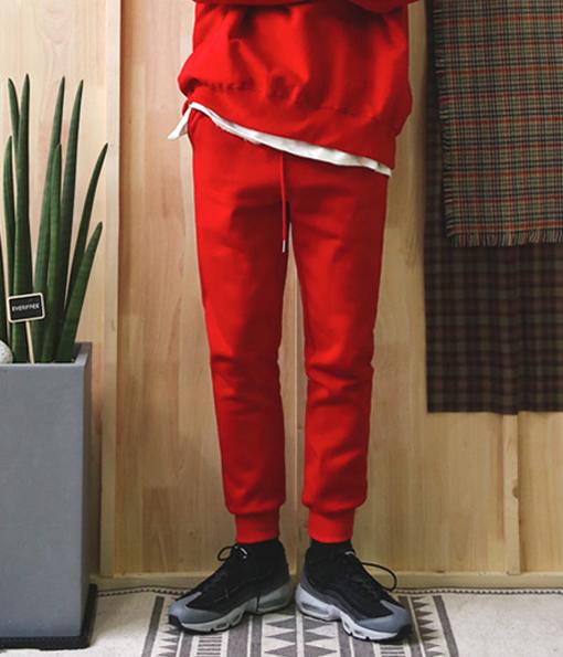 韓國冬季厚棉剪裁修身棉褲