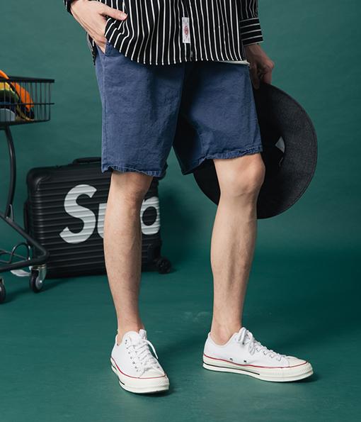 韓國夏季百搭水洗風格休閒短褲