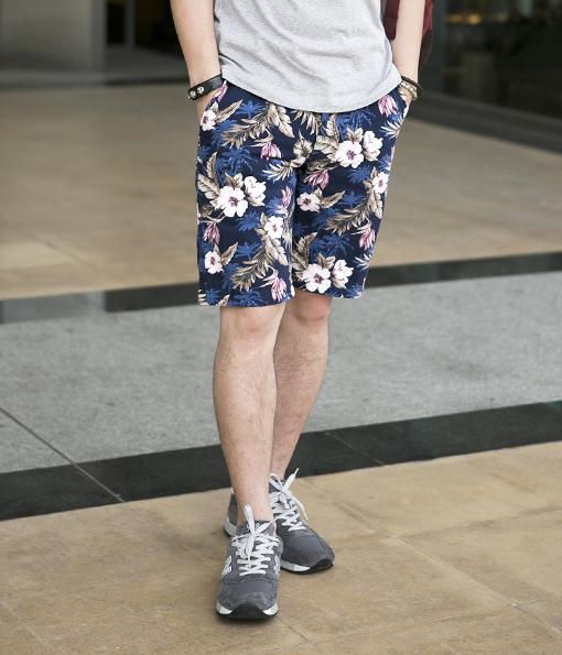 街頭風格夏威夷圖像短褲