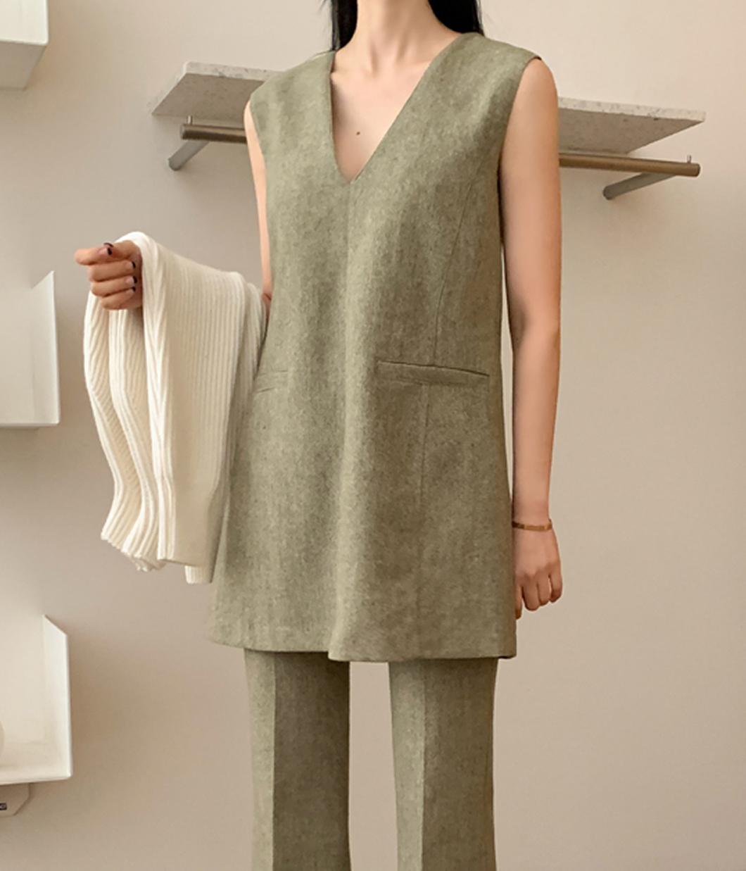 極簡時尚羊毛混紡V領背心