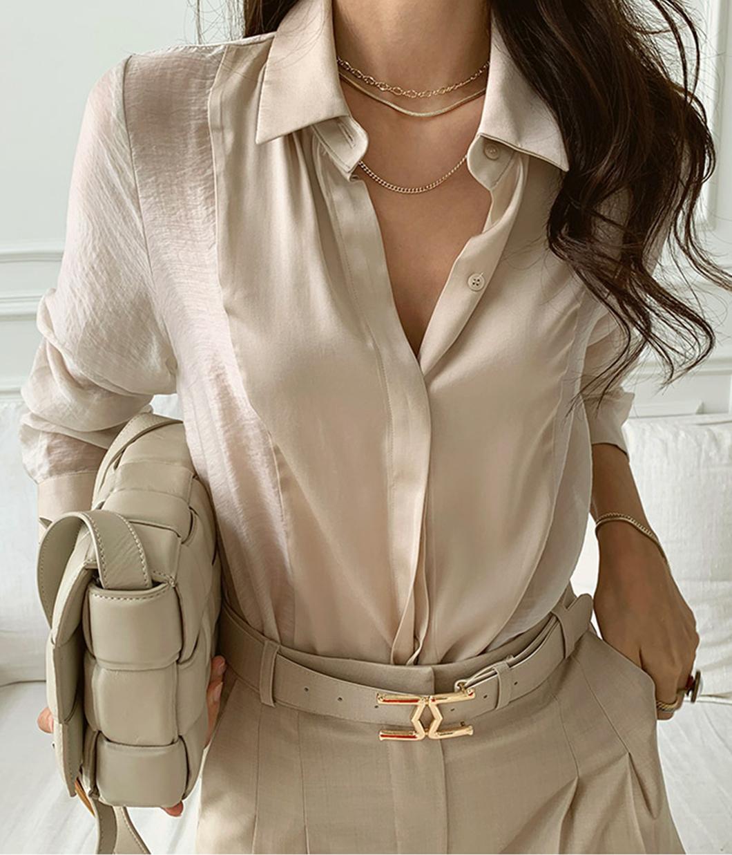 質感女人拼接透膚襯衫