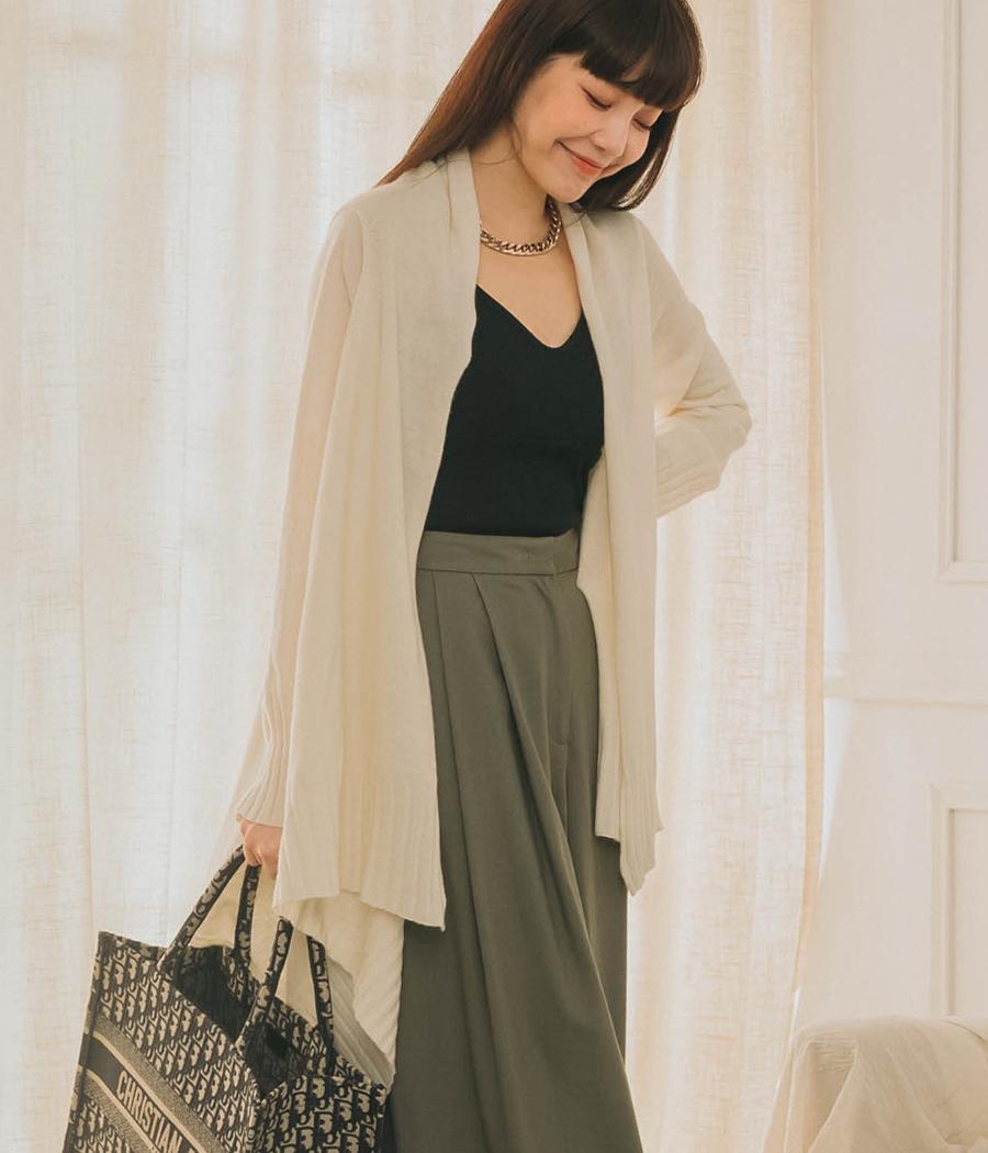 秋日優雅羊毛混紡開襟罩衫