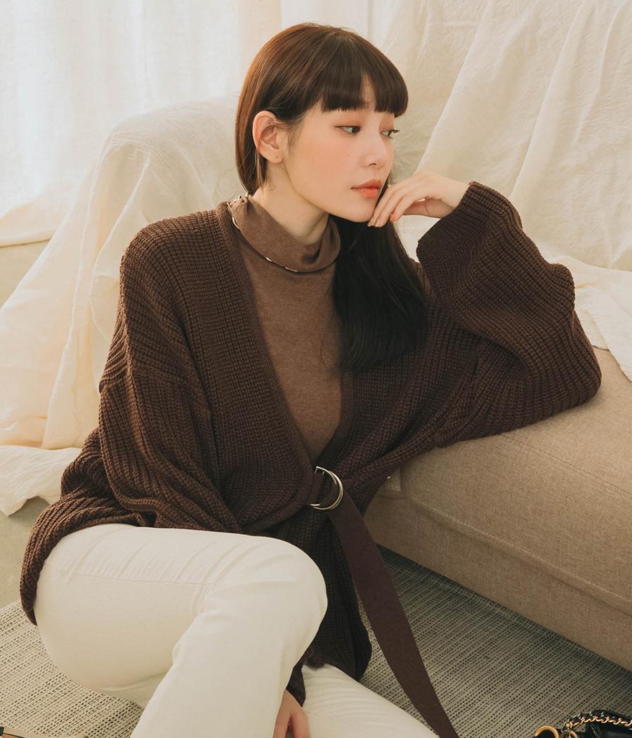 日系慵懶釦環針織外套