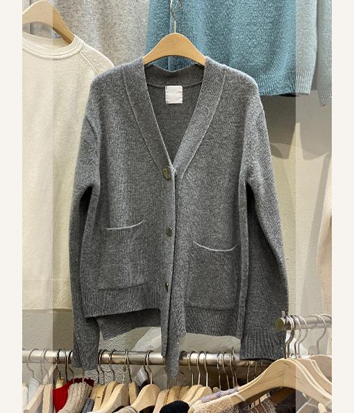 浣熊毛霧面排釦針織V領外套