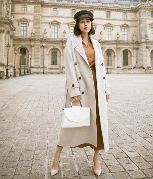 31.高質感排釦90%羊毛長版大衣(附綁帶)