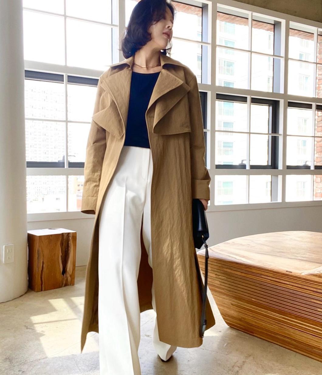 時髦層次單釦風衣外套