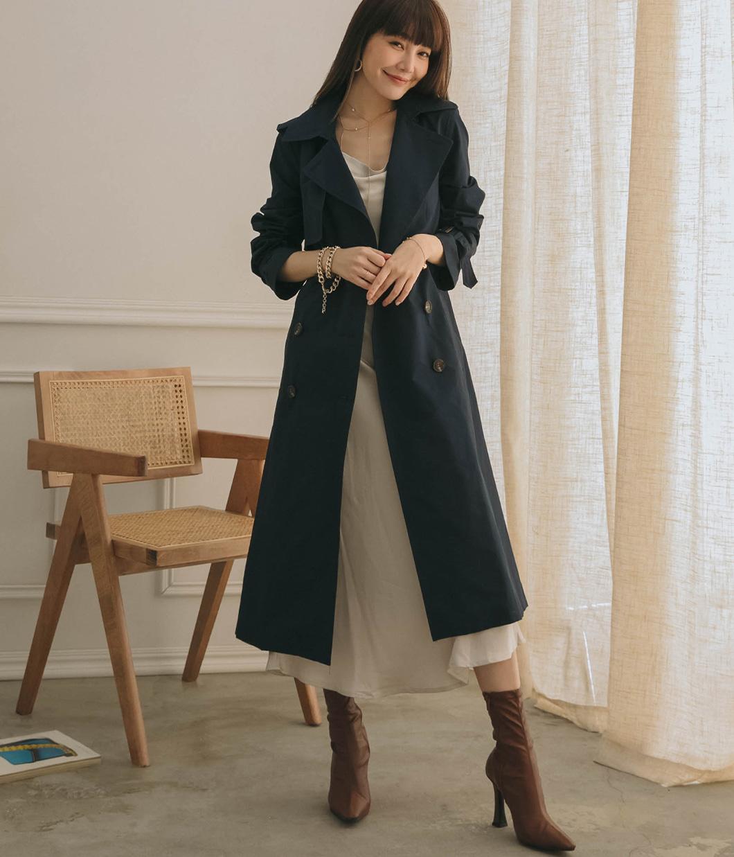 簡單時尚風衣外套(附腰帶)
