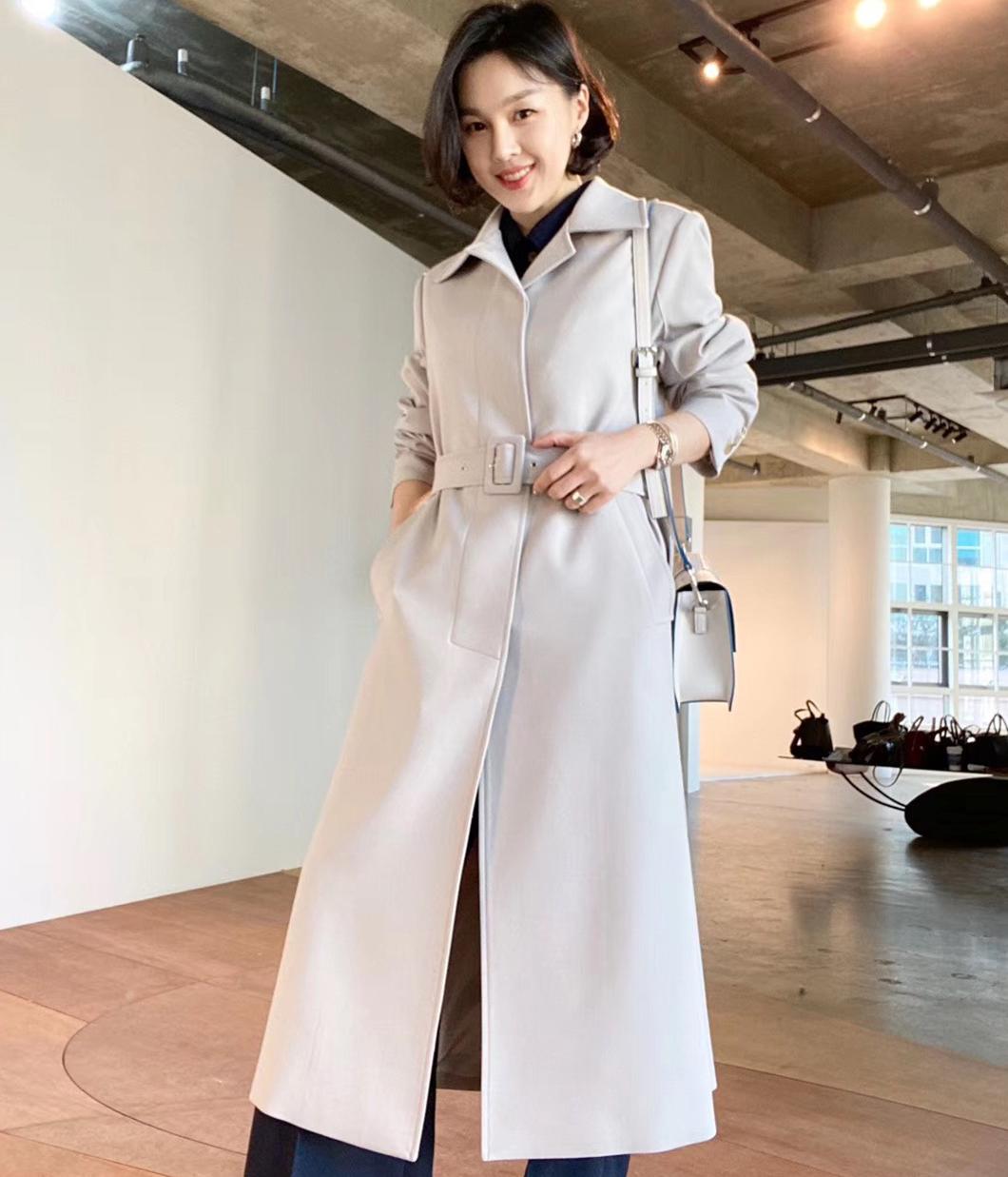 法式街頭美麗諾羊毛隱藏扣大衣