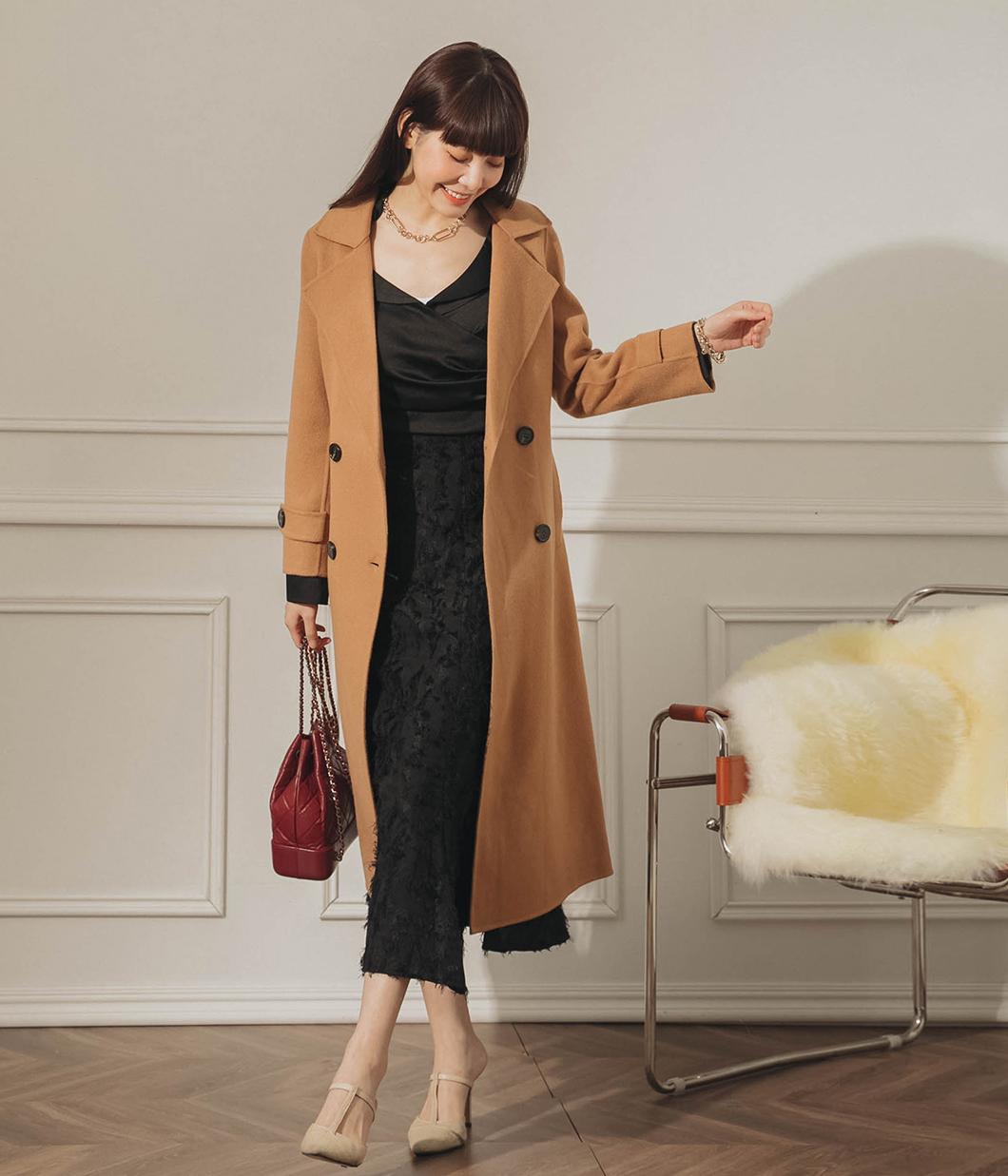 64.簡約質感雙排釦90%羊毛大衣(附綁帶)