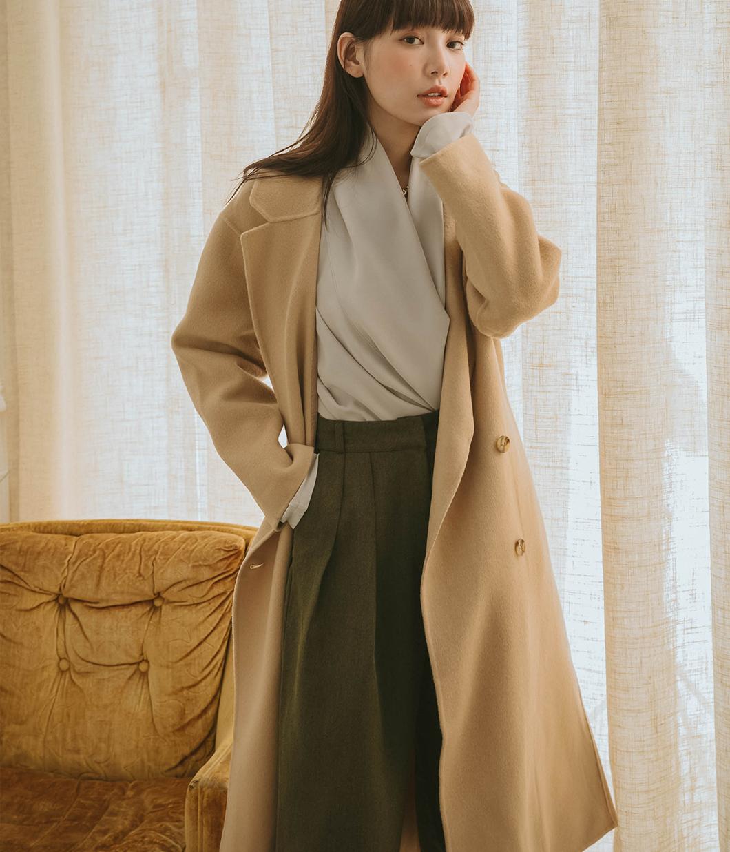 48.優雅側邊雙釦90%羊毛大衣(附綁帶)