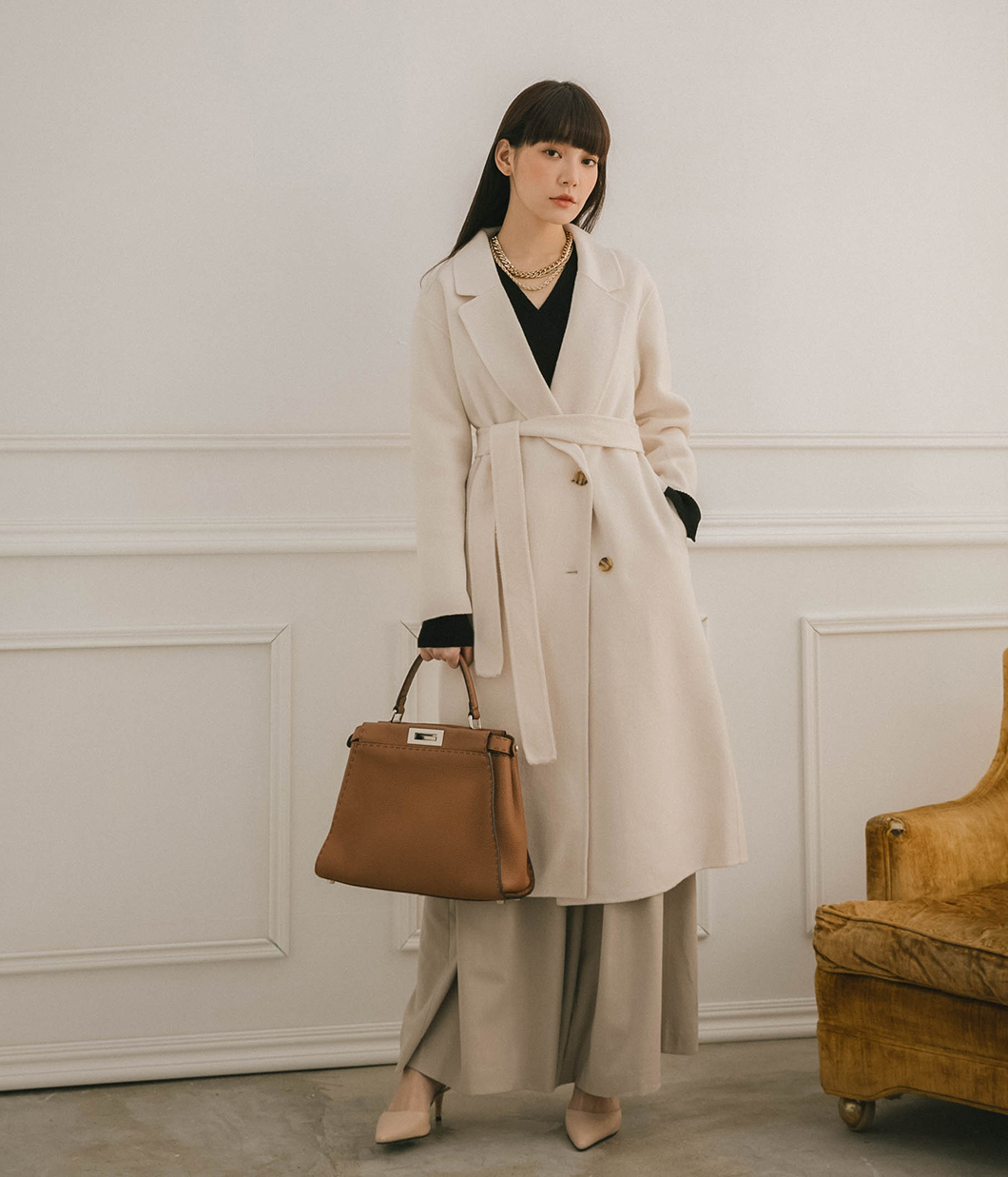 優雅側邊雙釦90%羊毛大衣(附綁帶) 試穿展示品