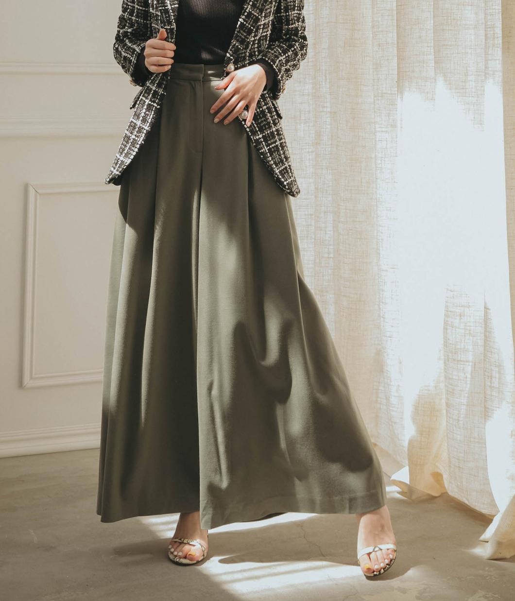 初秋挺版雙摺羊毛大寬褲