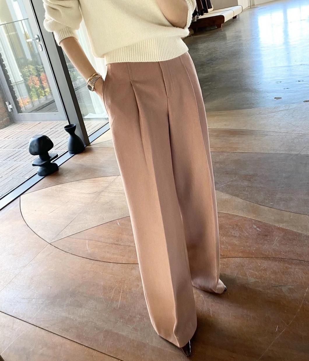 單摺修身設計60%羊毛寬褲