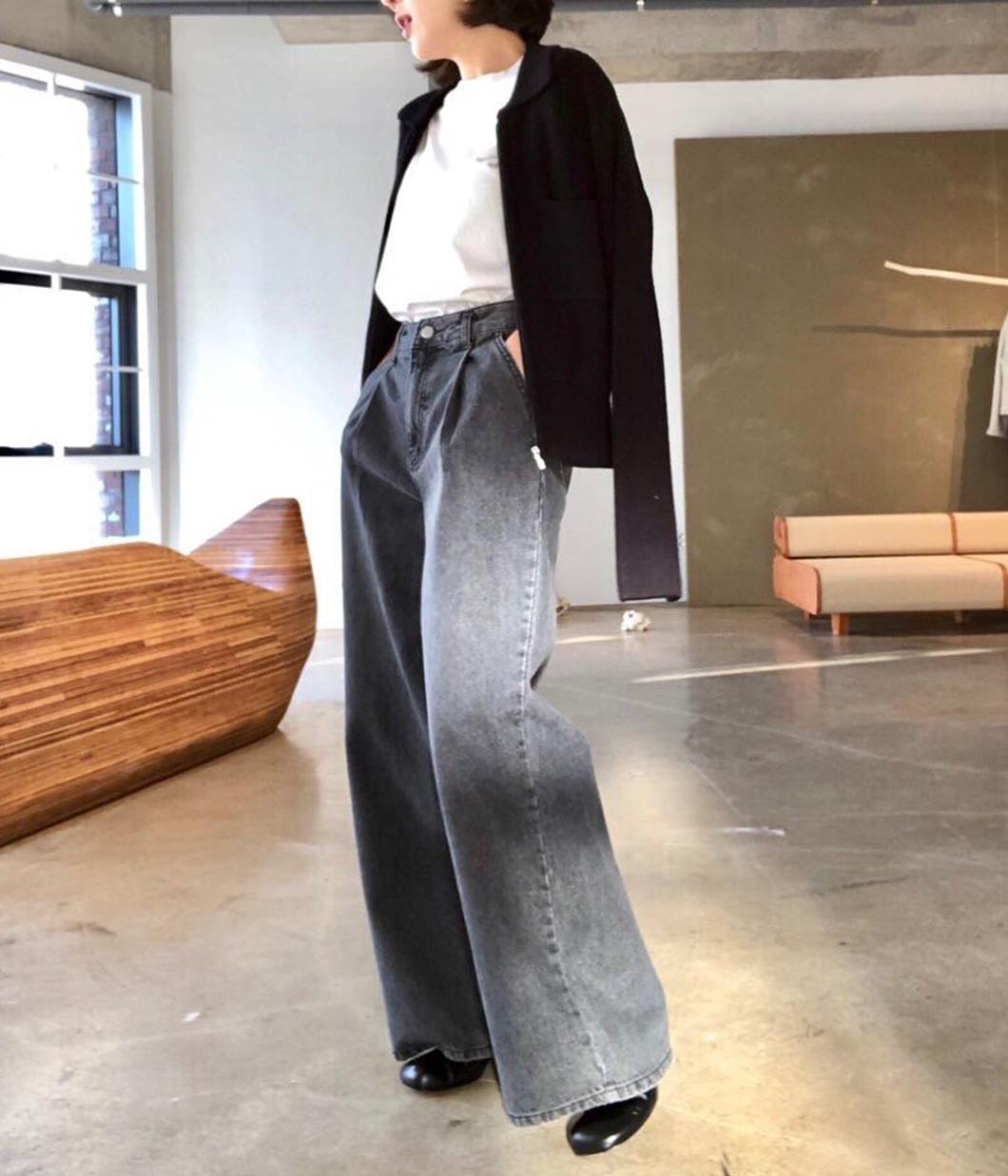 灰黑牛仔寬褲