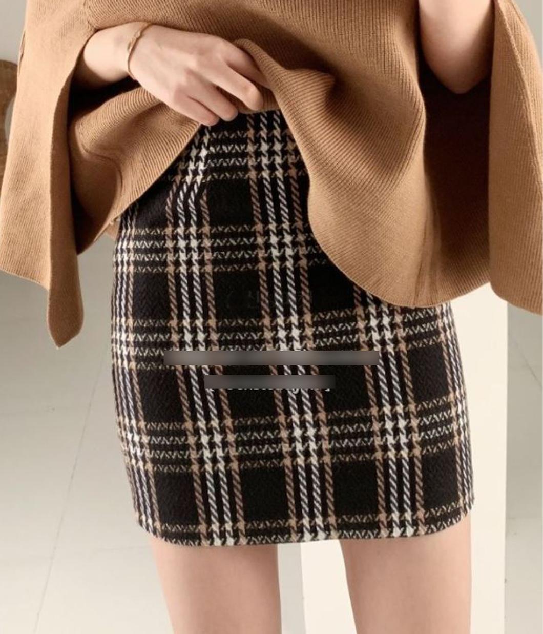 甜美氣息格紋毛呢短裙