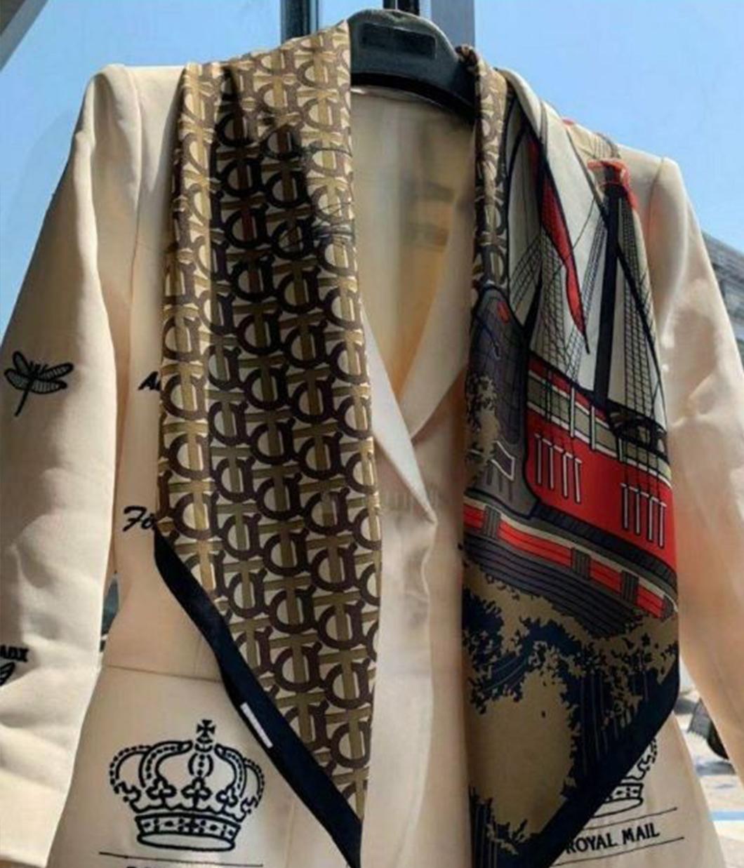 復古華麗造型絲巾