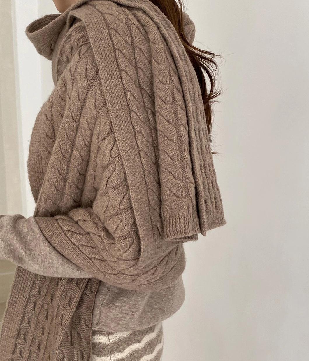 秋冬質感立體織紋圍巾