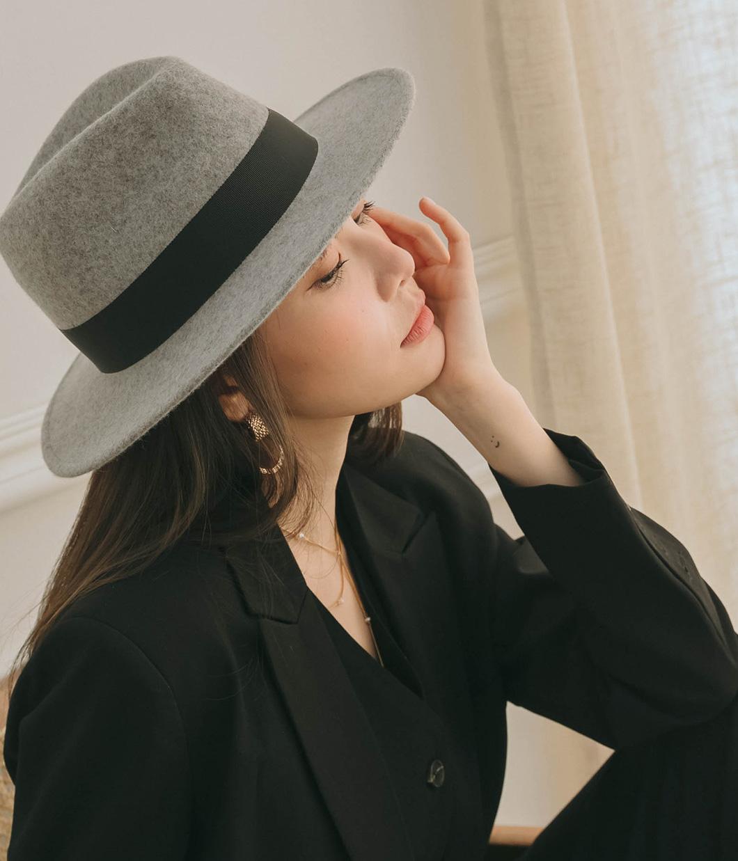 訂製款織帶羊毛手工紳士帽(7cm)