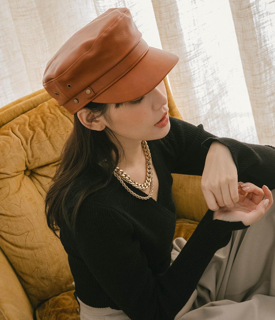 個性單品挺版皮革軍帽