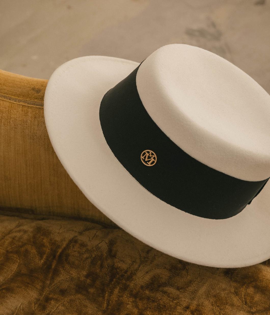 質感寬織帶羊毛圓頂紳士帽