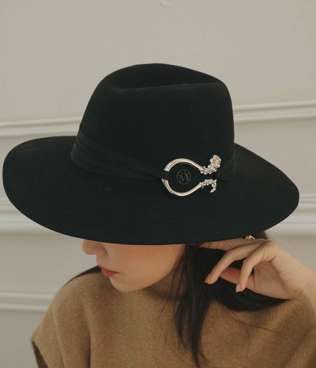 高貴感金屬綴飾羊毛紳士帽