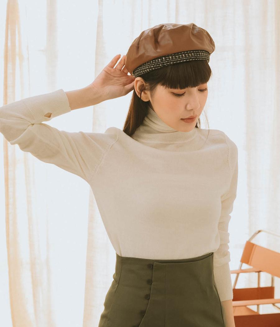 簡單時尚拼接皮革貝雷帽