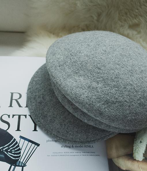 時尚單品純色毛呢報童帽