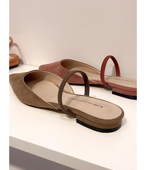 質感色系麂皮尖頭平底鞋(無到付服務)