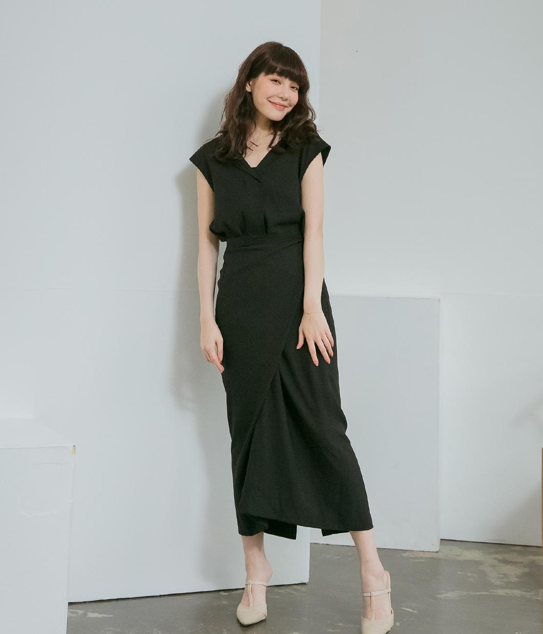 圍裹式V領氣質洋裝
