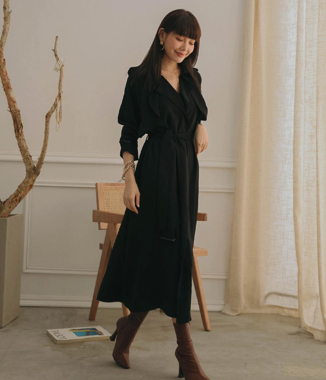 典雅迷人風衣式洋裝(附腰帶)
