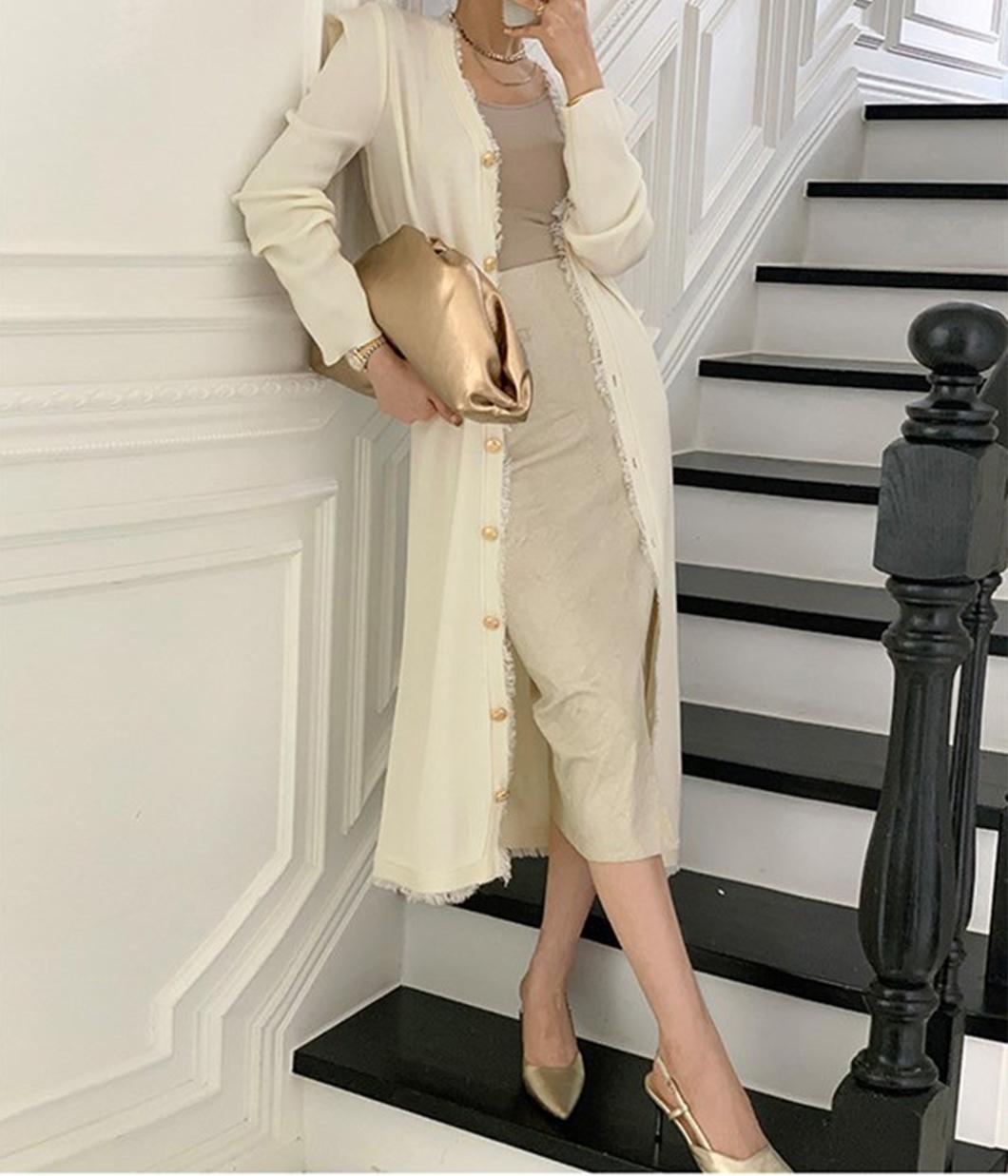高貴鬚邊設計金釦針織洋裝