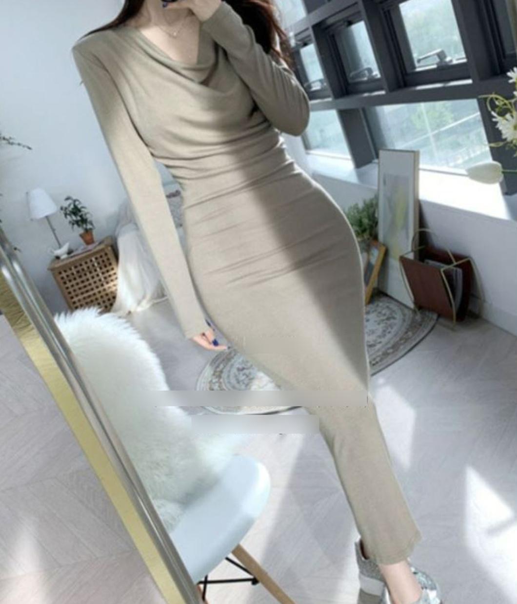 好身材系列垂領合身洋裝