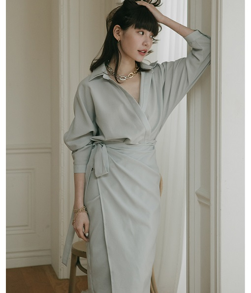溫柔氣息圍裹式綁帶洋裝