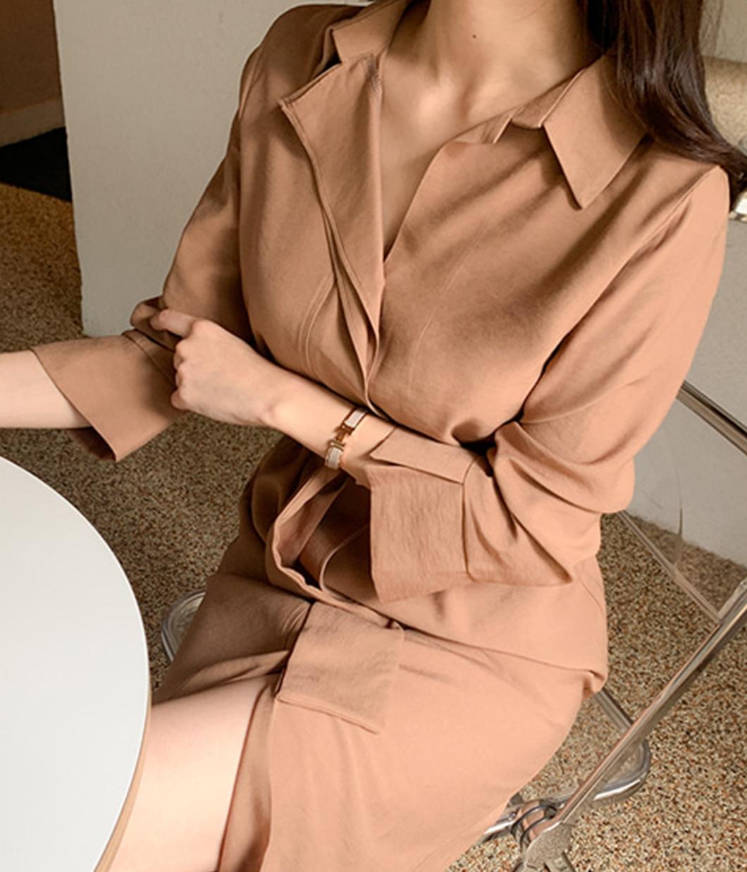 極簡荷葉領襯衫洋裝(附腰帶)