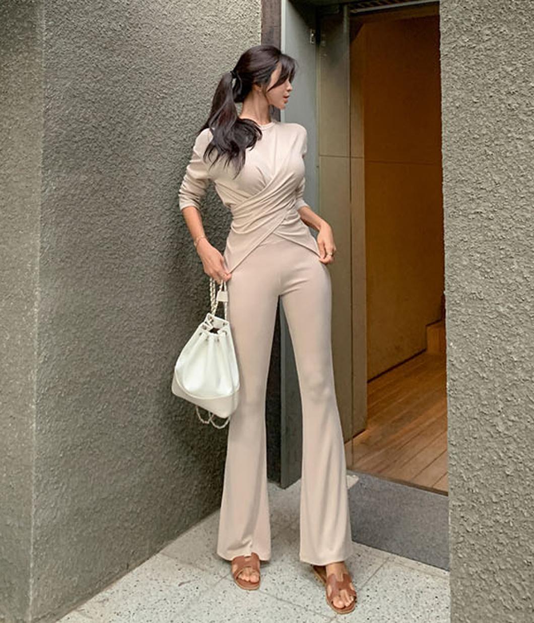 簡單休閒扭結設計上衣+長褲SET