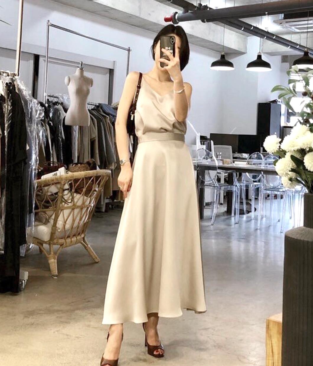 法式浪漫光澤圓裙