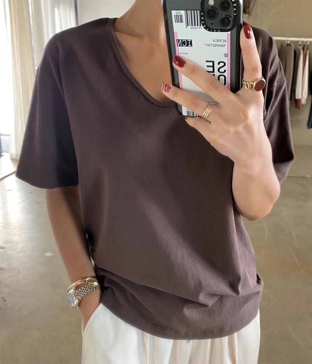 簡約U領純色棉質短袖T恤