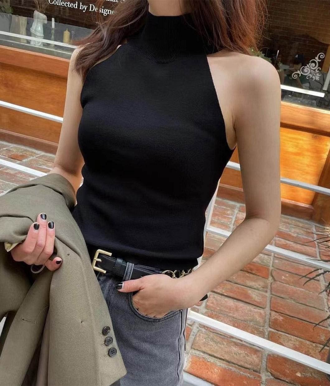 44.韓國歐膩的高領削肩背心