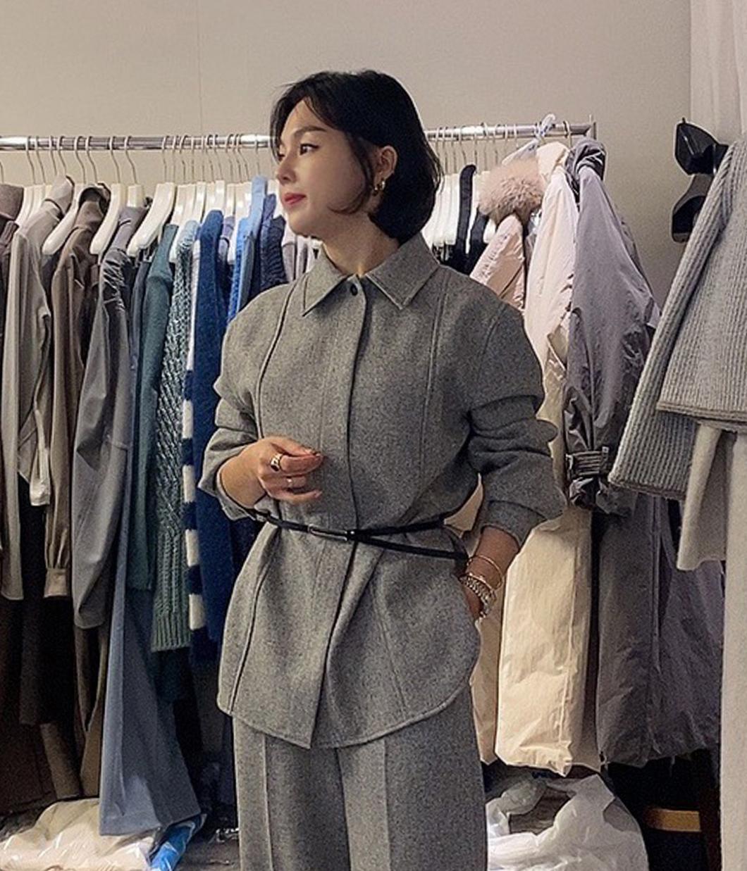 高質感50%羊毛隱藏釦襯衫(附腰帶)
