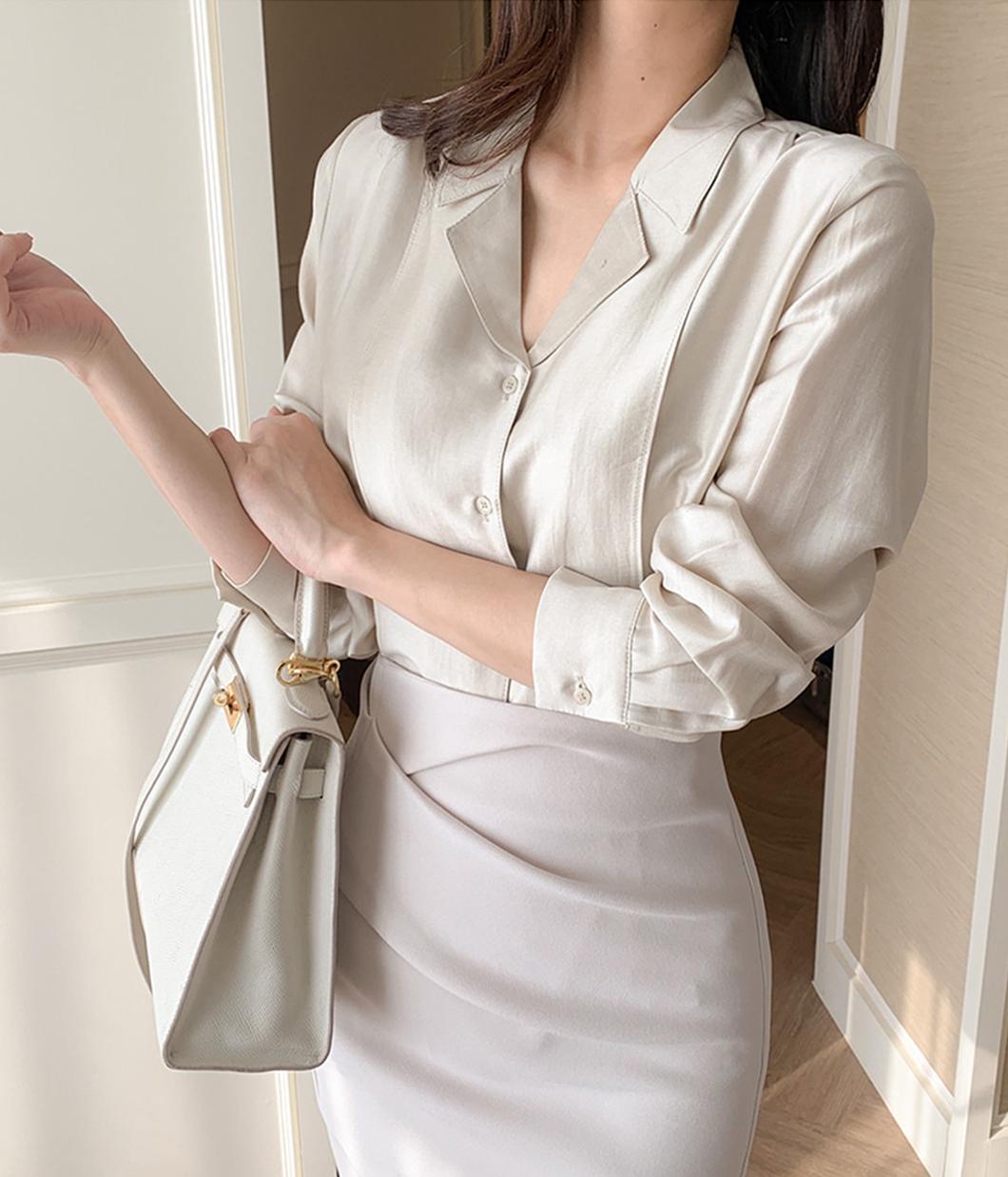 層次感門襟設計光澤襯衫