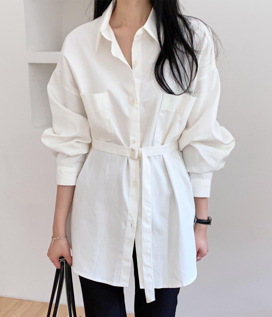 初秋必備的棉感口袋襯衫(附腰帶)