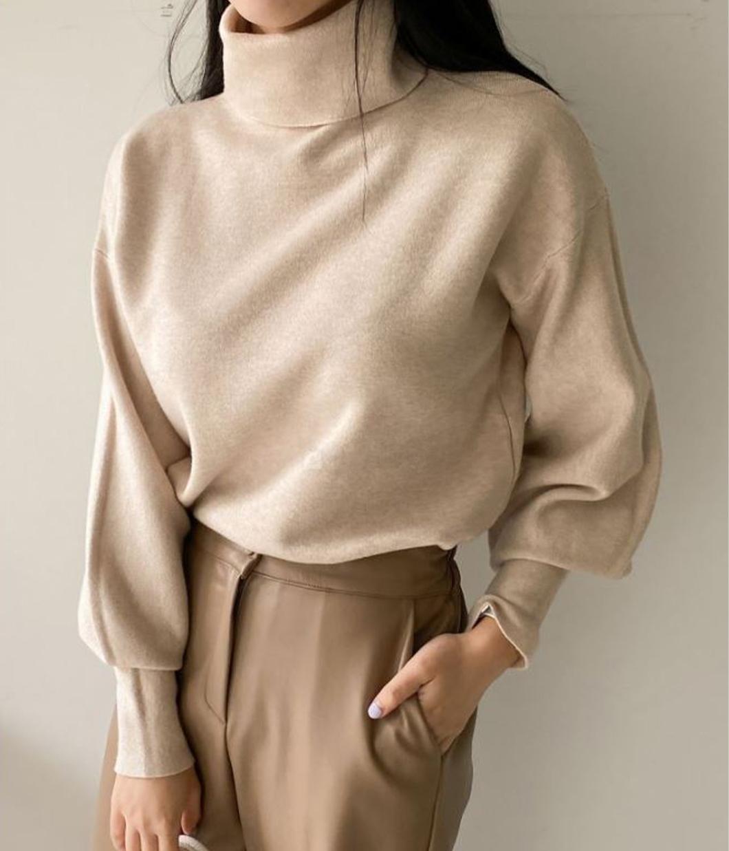 36.極簡縮袖設計高領毛衣